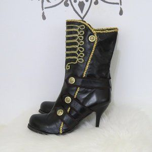 Office London Black & Gold Braided High Heel Boots 10